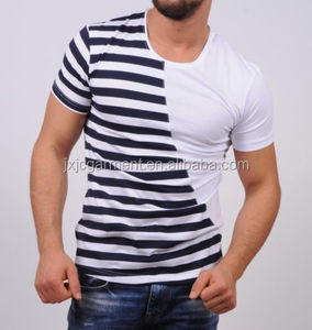 wholesale yarn dyed fashion stripes t shirts for men