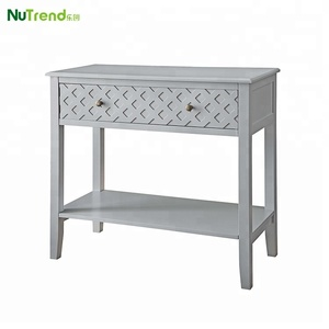 Modern wood wall console table with checker front designs