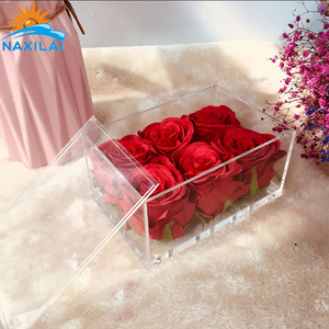 NAXILAI Clear Wall Mount Acrylic Flowers Box Plastic Case For Single Rose Box