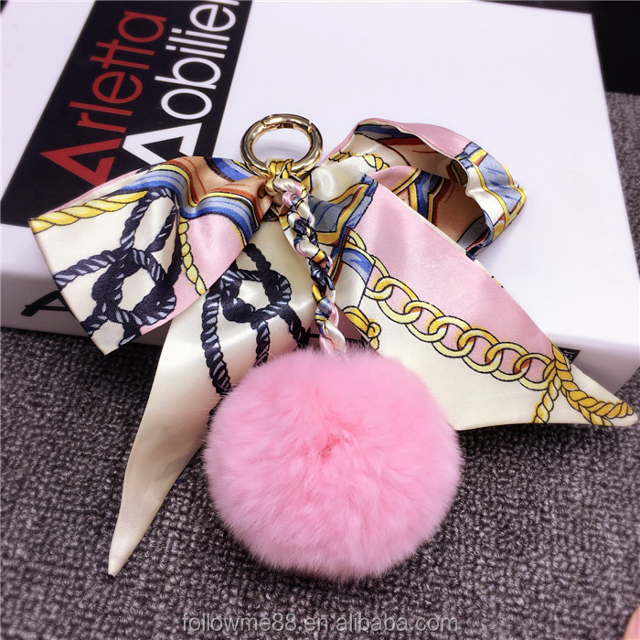 rabbit fur pom pom bag charm attached with silk ribbon ,new design keychain in faux fur KC-47a