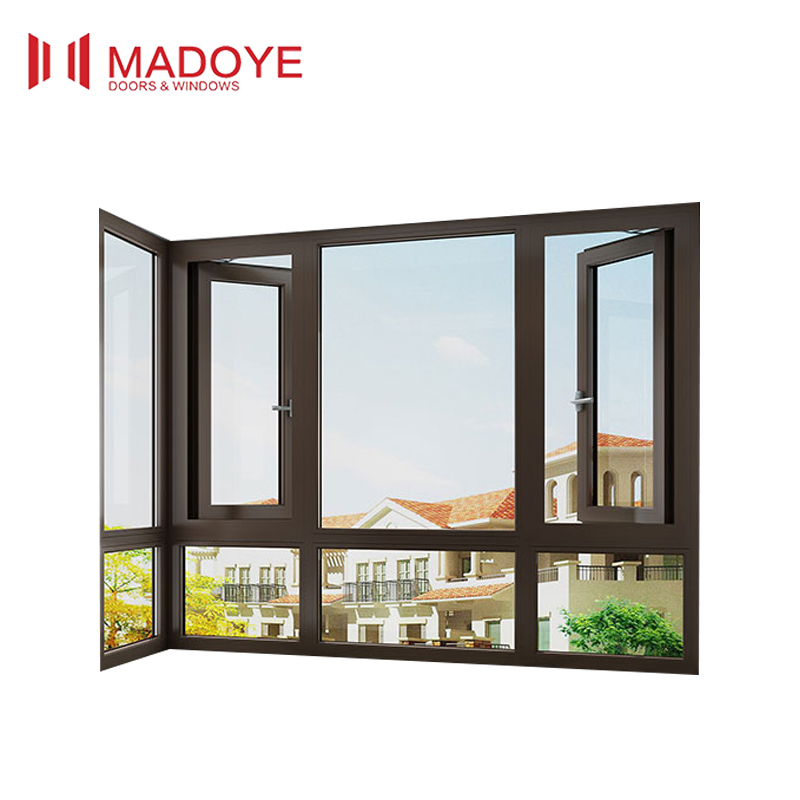 AS2047 certificate aluminum accordion window with double glazing glass