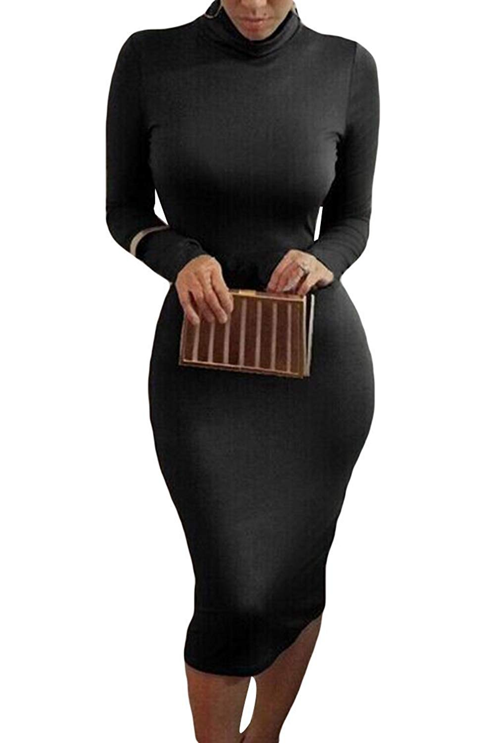 bc5179f61d3 Get Quotations · ALAIX Women Sexy Turtleneck Long Sleeve Stretchy Bodycon  Tight Pencil Midi Dress