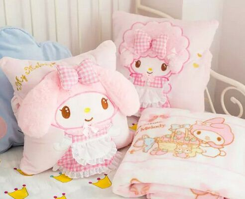 Plush 1pc cartoon sweet soft my melody rabbit sheep office cushion + warm blanket stuffed toy creative romantic gift for <strong>baby</strong>
