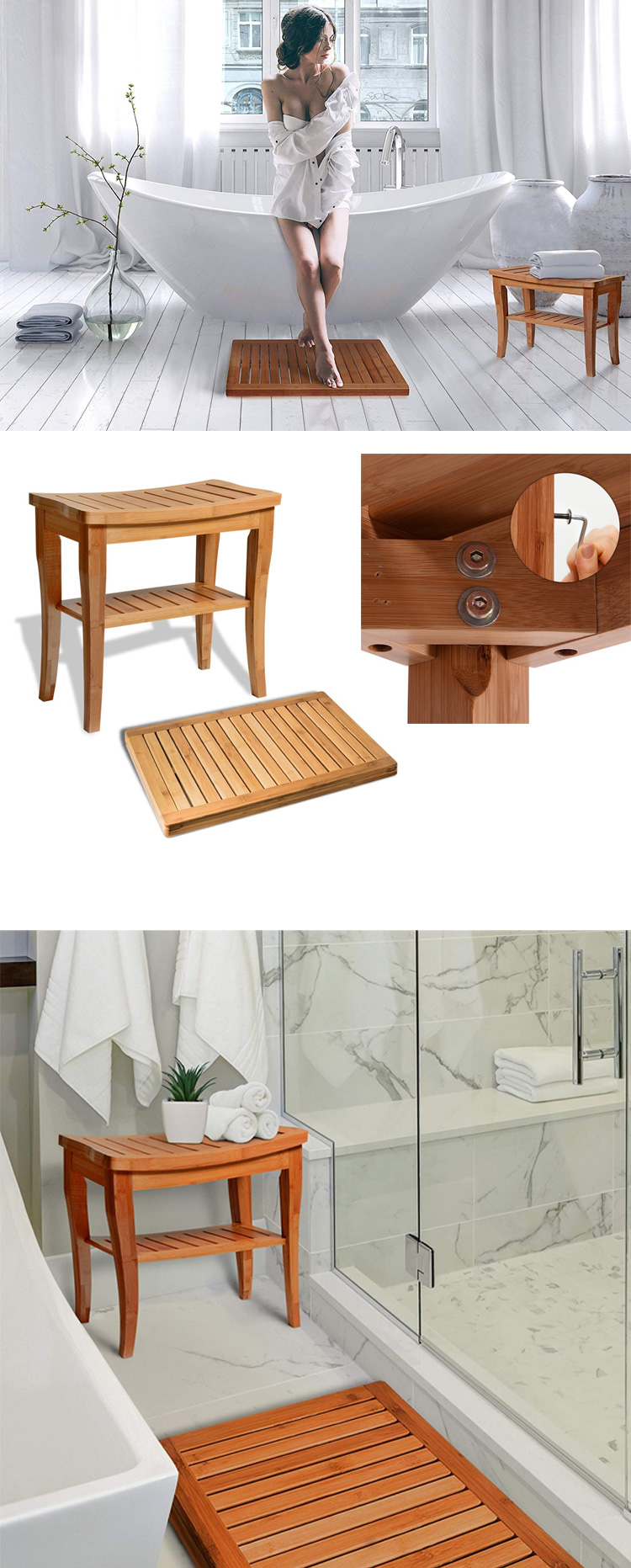 100% Natural Bamboo Seat Bench Shower Stool Bench With Floor Mat