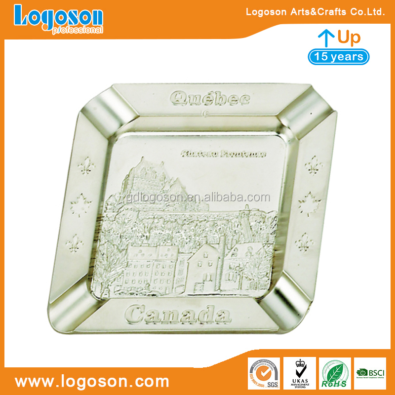 Wholesale ashtray Canada souvenirs matt nickel engraved custom cigar ashtray cigarette ashtray