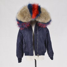 High Quality Ladies Coat mink fur Lined Women Parka Coat With Removable raccoon collar