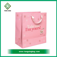 New style branded cotton handle paper shopping bag,gloss laminated paper bags