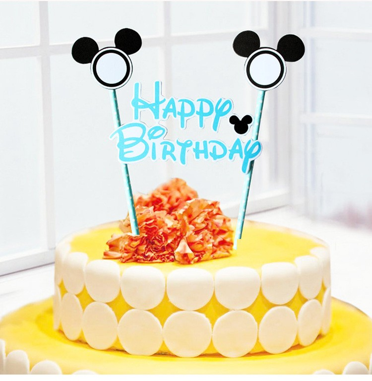Mickey Mouse Happy Birthday Letter Garland Cake Topper Bunting Set for Kids Party Decoration