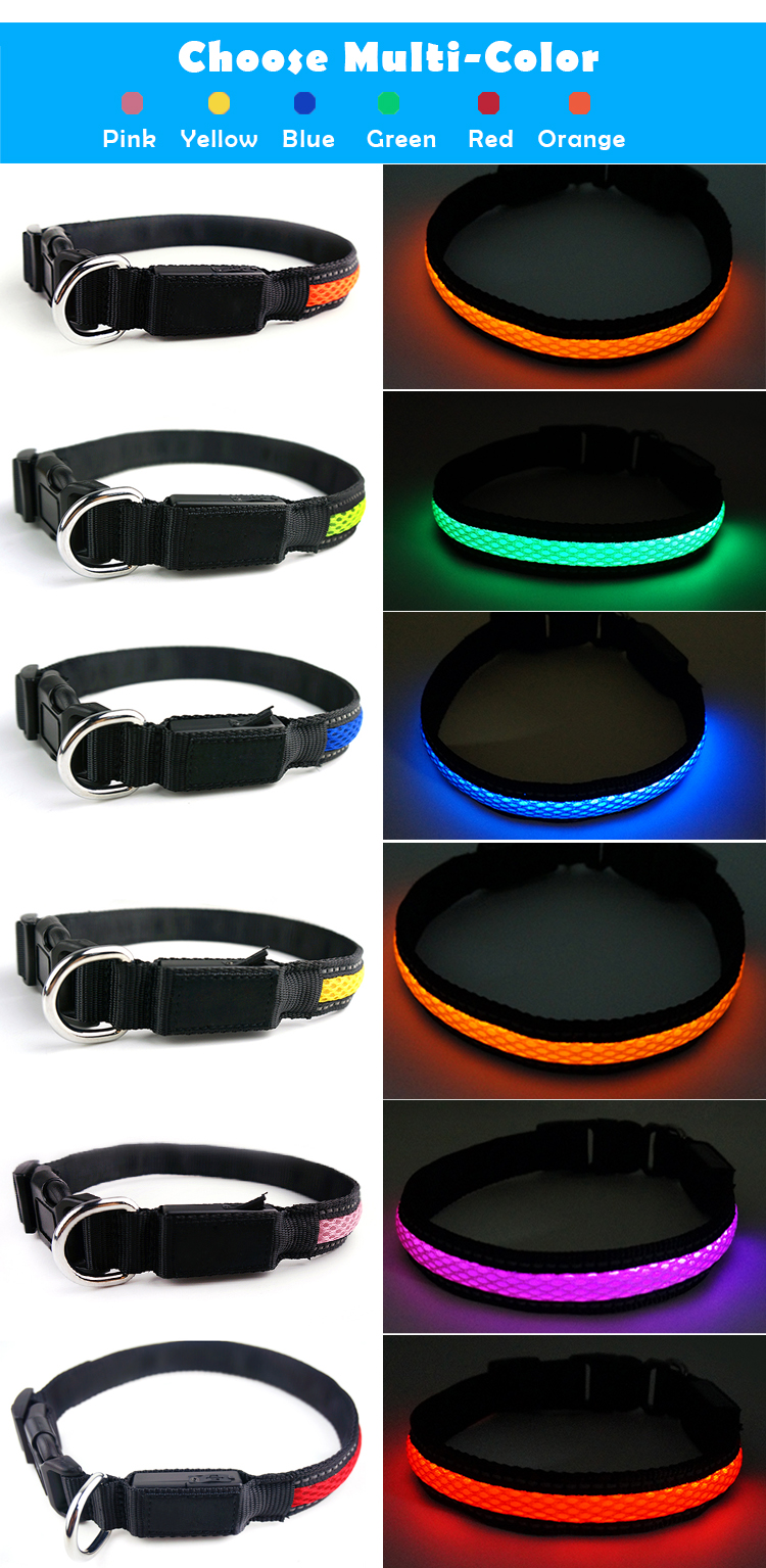 Amazon Best Choice Colorful Waterproof Luminous LED Dog Collar for Christmas