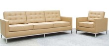 JH-C14-2 comfortable and soft Florence Knoll Tweezits leather sofa 3 seater for living room