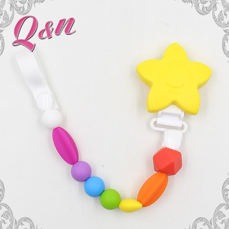 Wholesale personalized baby teether plastic pacifier clip chain with plastic clip