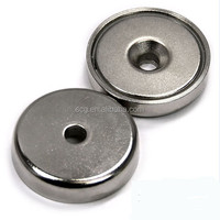 Round base neodymium magnet with countersunk hole
