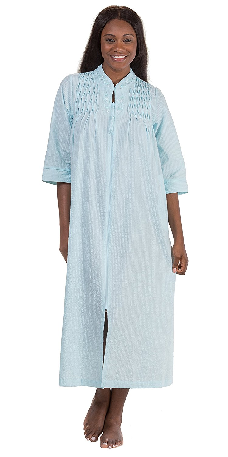 33a58d9bf6ea8 Get Quotations · Miss Elaine Plus Robes - Seersucker Long Smocked Zip Front  in Turquoise