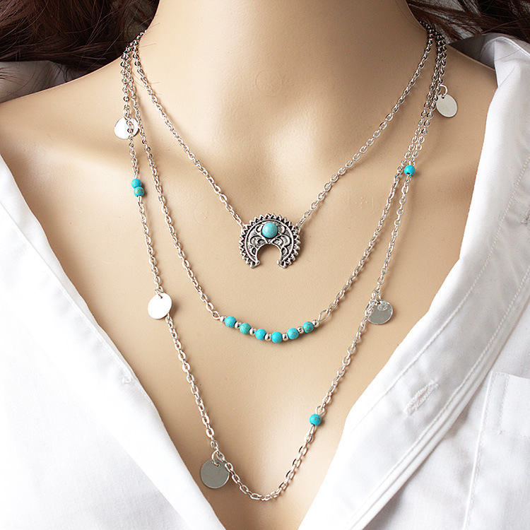 European and American adornments Bohemia retro style moon loose stone sequins multi-layer combination necklace necklaces