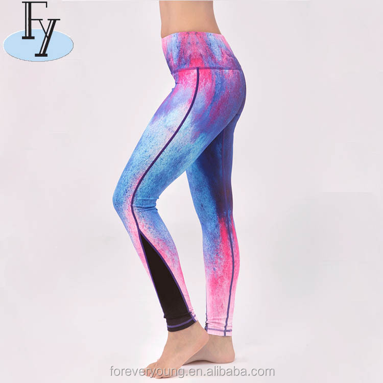 Private Label Supplex Yoga Fitness Gym Wear Impresso Calças para As Mulheres