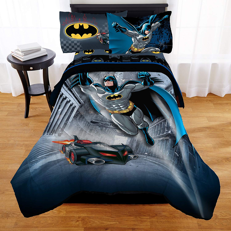 9ae3cb00b4b26 Get Quotations · TN 4 Piece Boys Black Batman Bedding Full