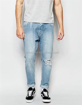 c05ac2d3ee Hot Mens Knee Big Hole Black Denim Joggers Jeans Custom Distressed Blue Jean