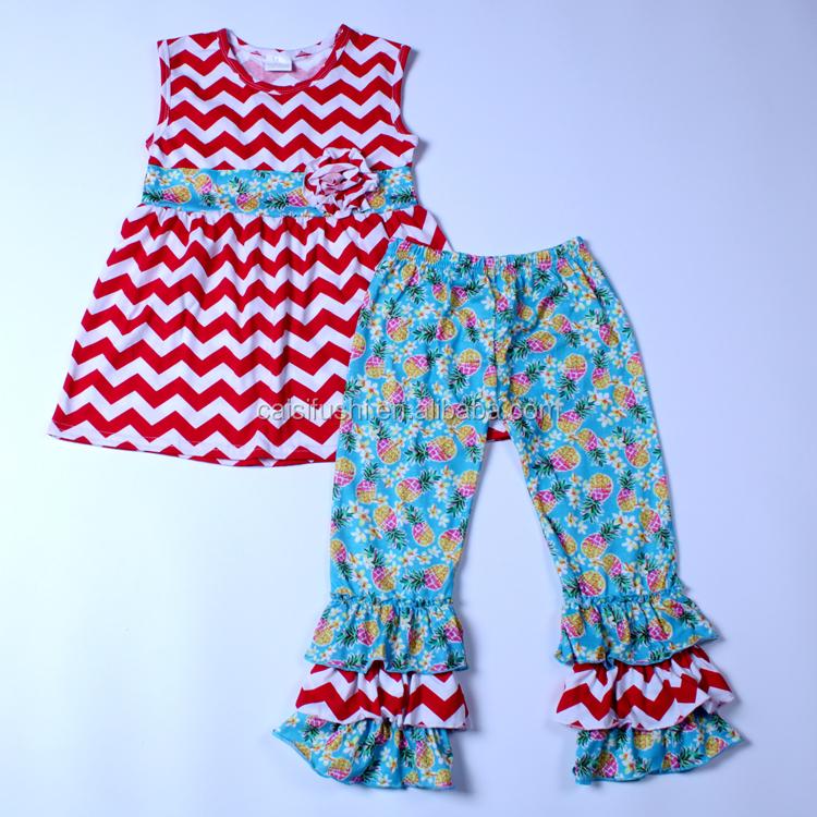 6e721f6c972 Groothandel Kinderkleding Zomer Mouwloze Strakke Streep Jurk Ruche Broek Boutique  Baby Meisjes Kleding Jurk Set