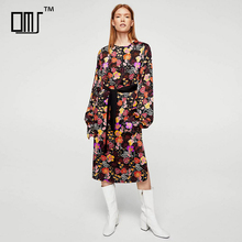 Multicolor floreale vescovo manica torna keyhole midi stampato winter dress