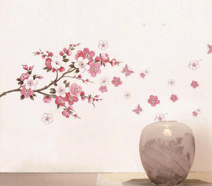 Sakura Flower  Home Decor Warm and comfortable Wall Sticker Removable Stickers Wall paper free shipping