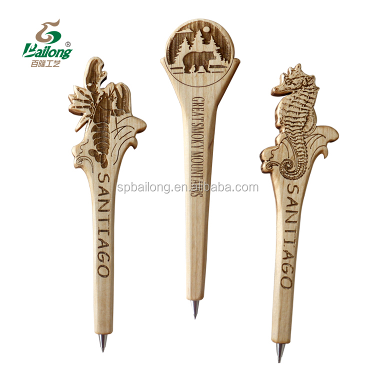 Professional factory hand carved tourist souvenir wooden pens with custom logo