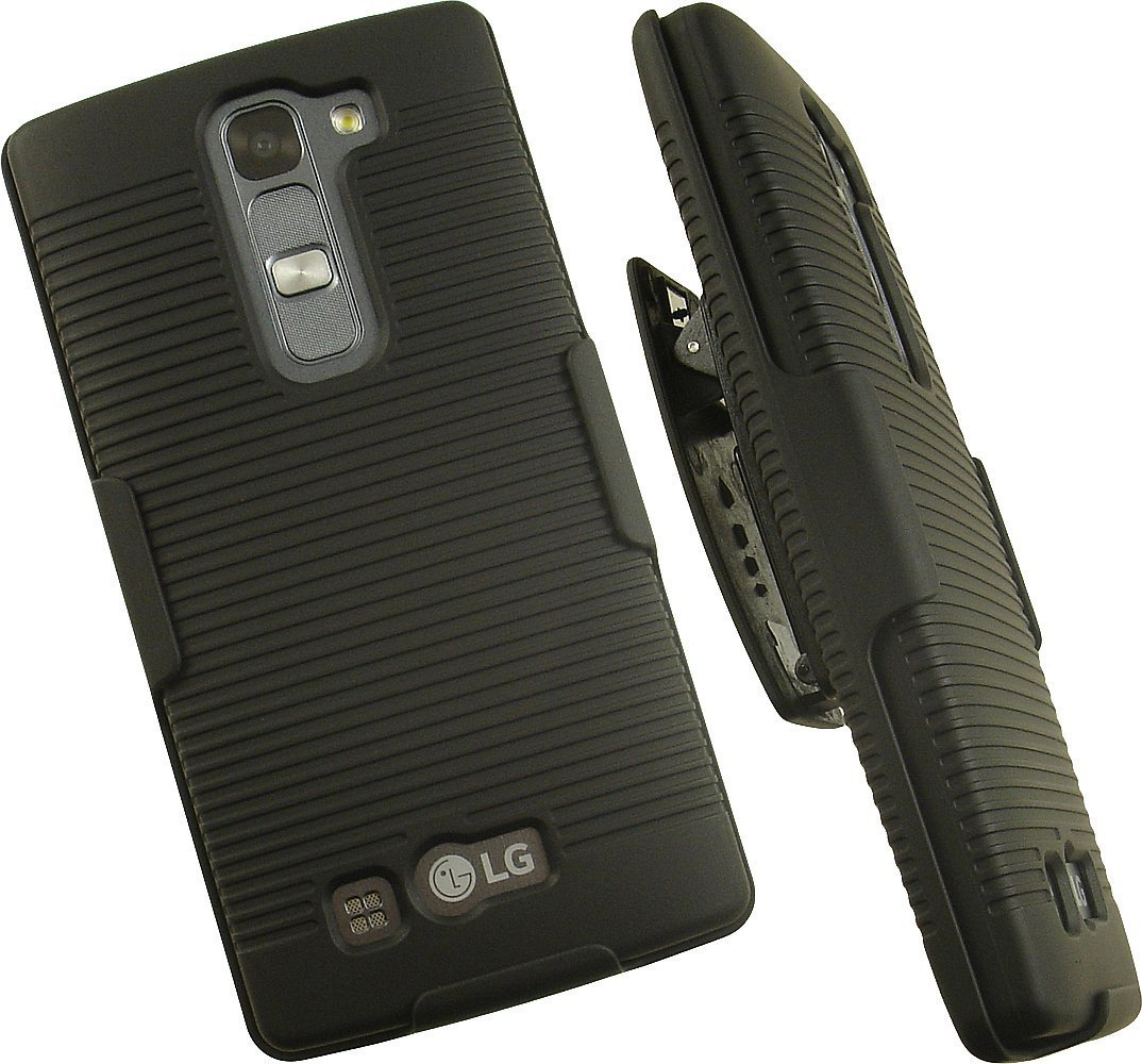 NAKEDCELLPHONE'S BLACK RIBBED RUBBERIZED HARD SHELL CASE COVER + BELT CLIP HOLSTER STAND FOR BOOST MOBILE LG VOLT-2 LS751 PHONE