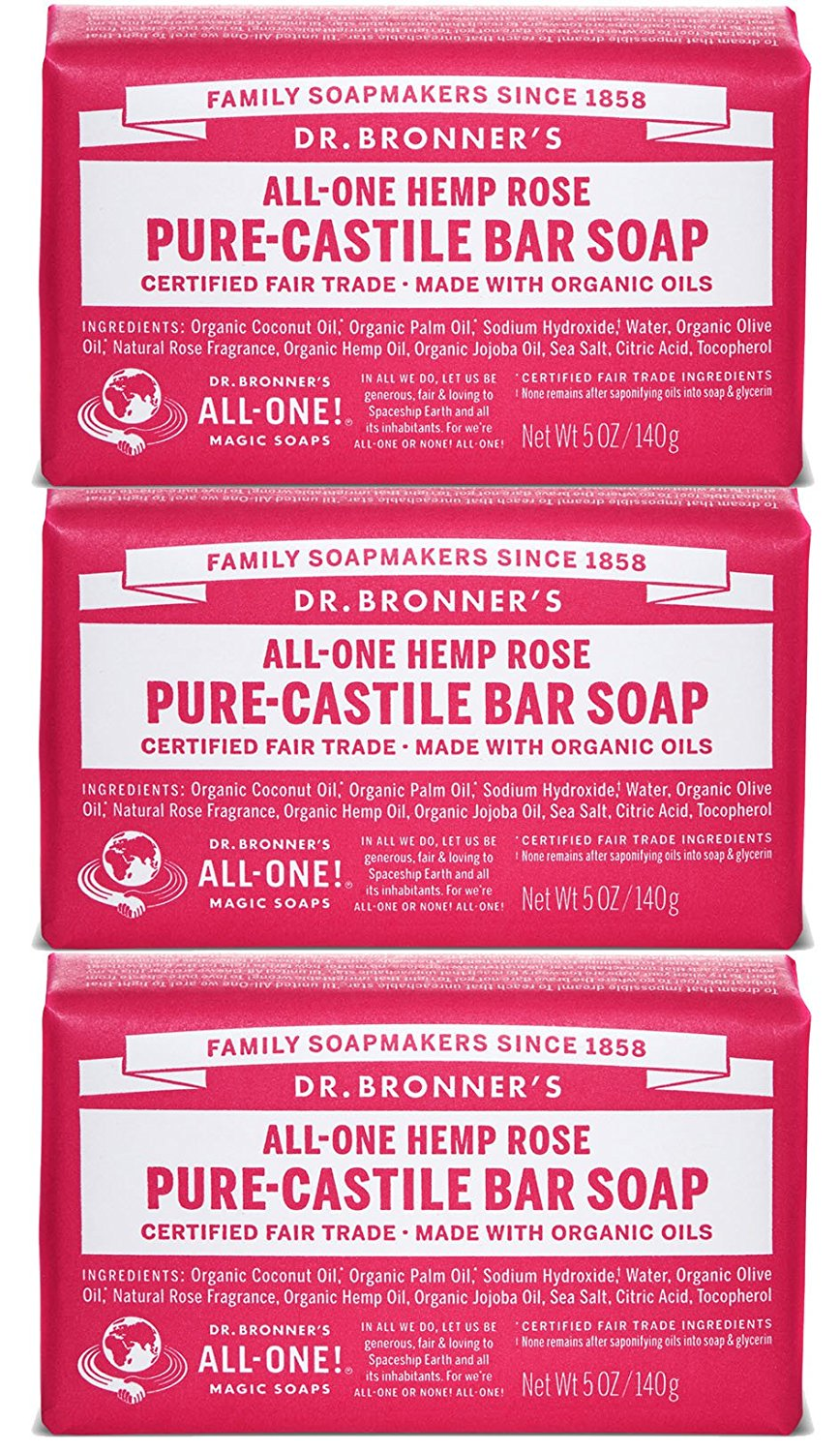 Dr. Bronner's Magic Soaps Pure-Castile Soap, Variety Pack, 5-Ounce Bars (Pack of 3) (Rose - Rose - Rose)