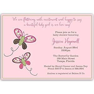 Butterfly, Baby Shower Invitations, Girl, Pink, Green, Spring, Floral, Botanical, Kisses, Sprinkle, 10 Custom Printed Invites with White Envelopes, FREE Shipping