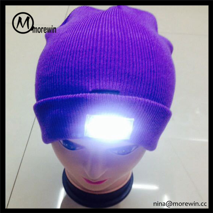 Morewin Custom Unisex Acrylic Knitted Beanie Hat Fashion Led Light Caps and Hats