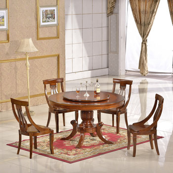 Dinette Furniture Wood Rotating Chinese Dining Table With Rotator Round