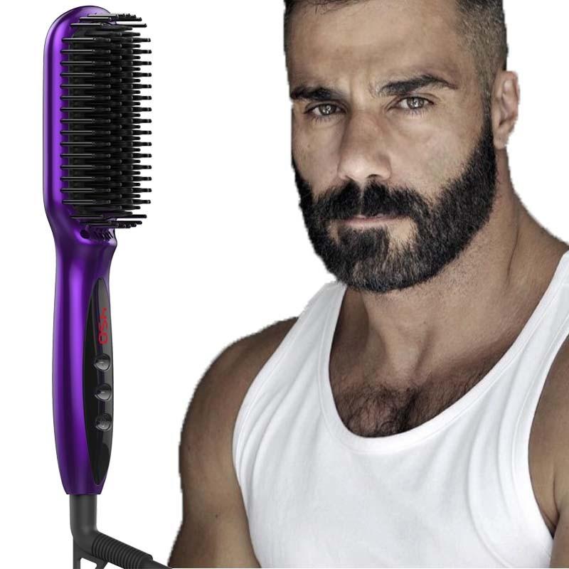 Amazon top seller Electric beard brush Non beard oil Men's beard hair straightener Anti-Scald heat straightening hair brush