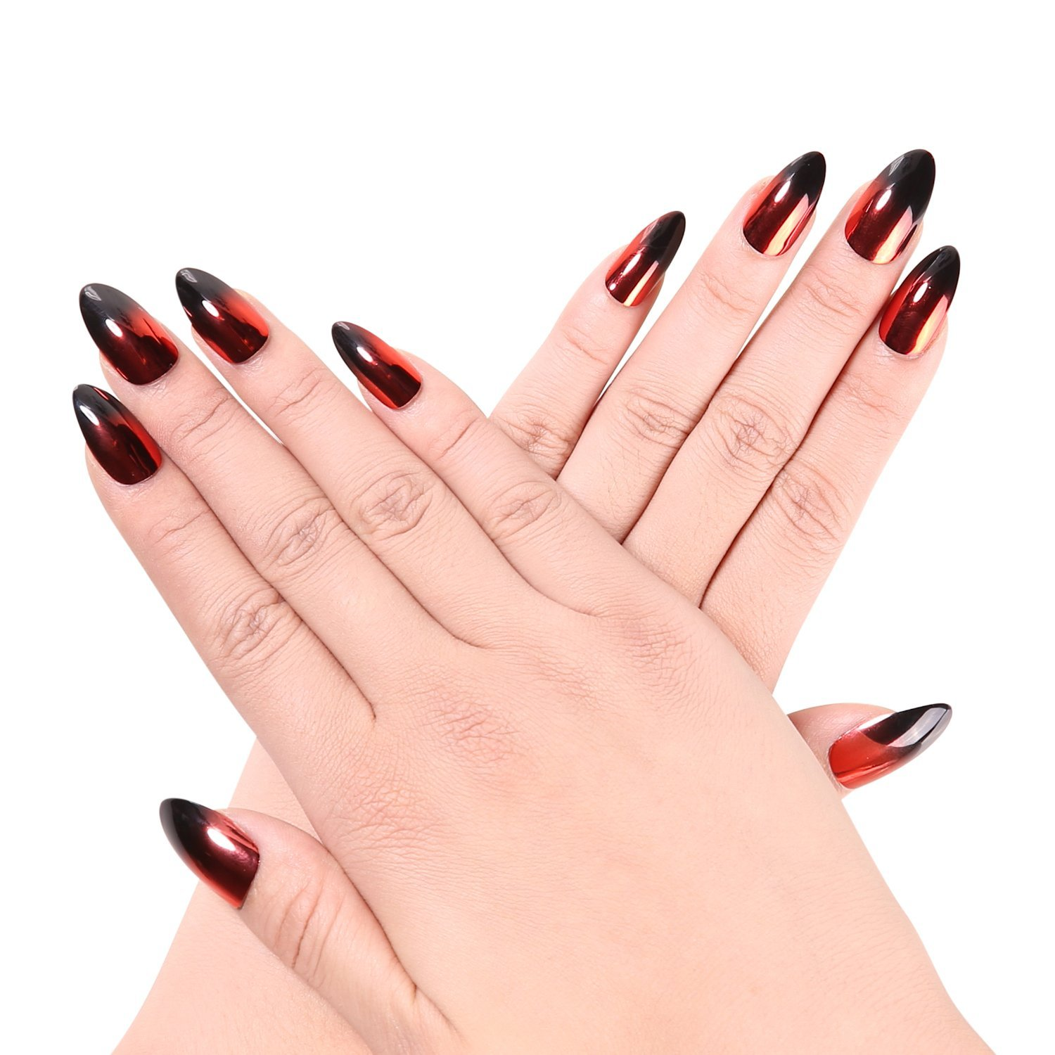 Ejiubas 24 Pcs Metalic Red and Black Color Changing Full Cover Medium Talone False Nail Tips