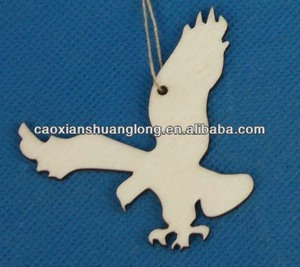 Hot sale new latest designed laser-engraving Eagle Shape wooden ornaments for christmas decoration