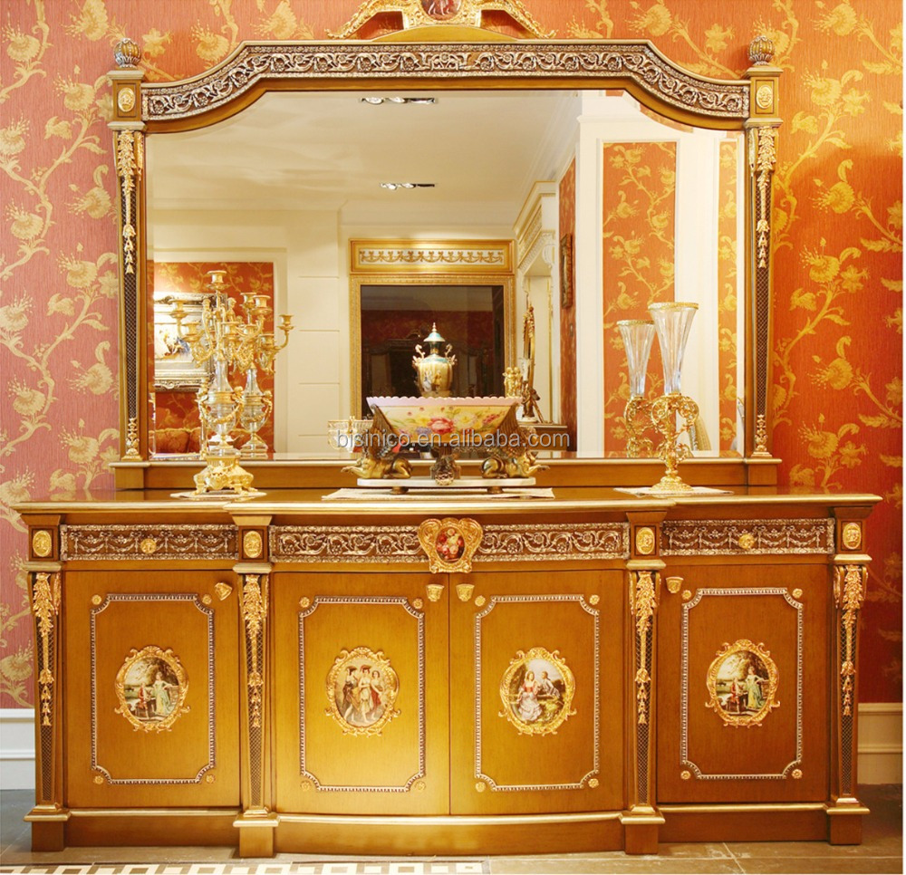 Solid wood tv cabinet with display cabinet living room furniture - French Louis Xv Style Golden Wood Carving Tv Cabinet With Showcase Classic Royal Living Room
