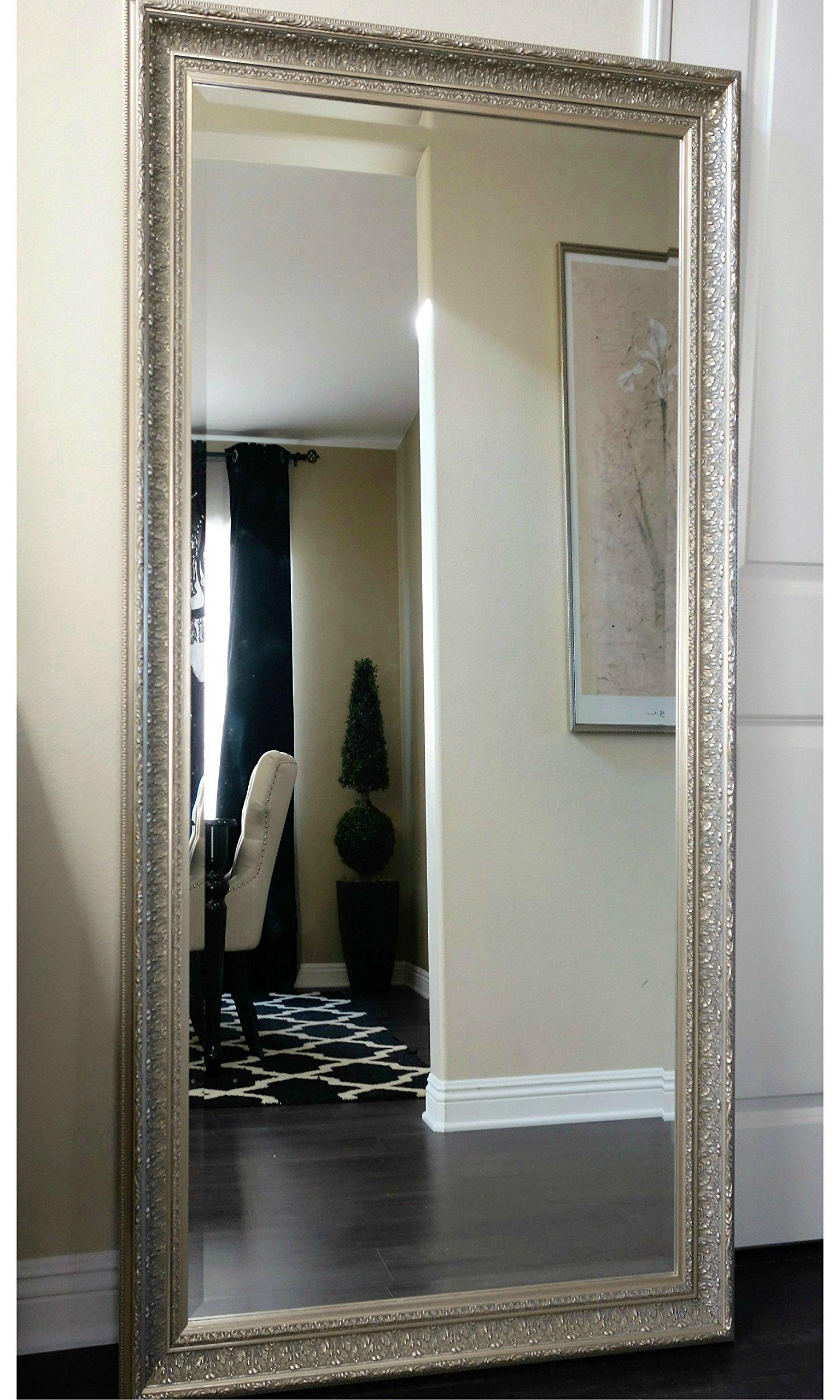 West Frames Elegance Ornate Embossed Champagne Silver Gold Wood Framed Floor Mirror