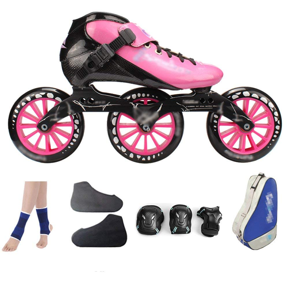 ZCRFY Carbon Fiber Speed Skating Shoes Racing Shoes Professional Adult Children's Large Roller Skating Shoes Roller Skates Inline Roller Skates Pink,PinkD-39