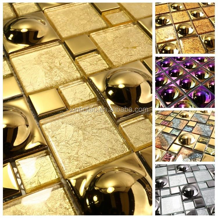 Großhandel Luxus Indischen Stil Gold Farbe Glas Keramik Mosaik Fliesen