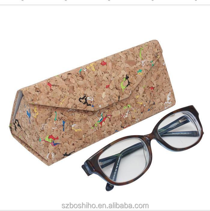 Boshiho foldable sunglasses case folding triangle eye eyewear glasses case cork wood wooden custom logo