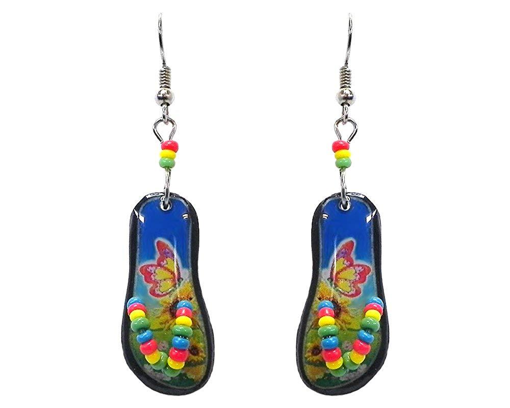 bd27bce95dfd Get Quotations · Tropical Flip Flop Sandal Dangle Earrings