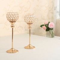 Metal silver plated candle holder with crystals wedding candelabra centerpiece decoration candlestick