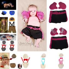 Latest Crochet Baby Photo Props Boy Gentlemen Set Boy Crochet Diaper Cover Suspenders Bowtie Set 1set
