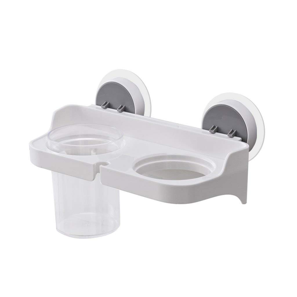 Xiao hong home Bathroom Trays Hair dryer rack free punching rack suction wall single cup holder household bathroom plastic storage rack (Color : White, Size : 24116cm)