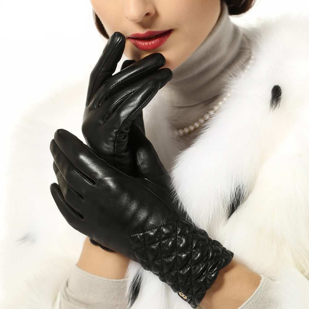Leather Gloves Women 2015 Fashion Female Genuine Leather Gloves Short Wrist Sheepskin Gloves For Driving