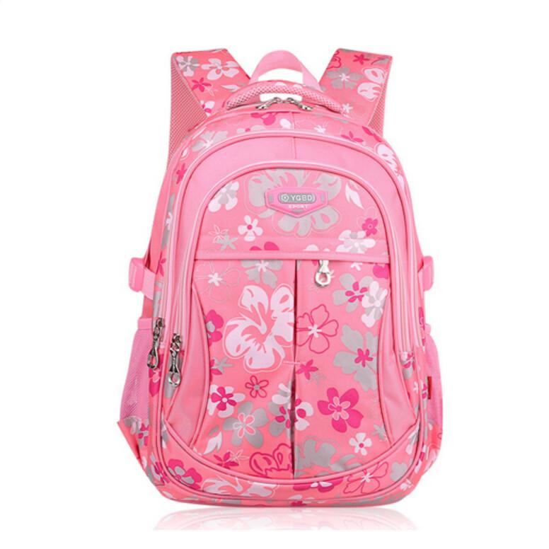 2015 orthopedic school bags for girls ergonomic elementary pink backpack  kids floral nylon schoolbag student waterproof e3e4f6f451042
