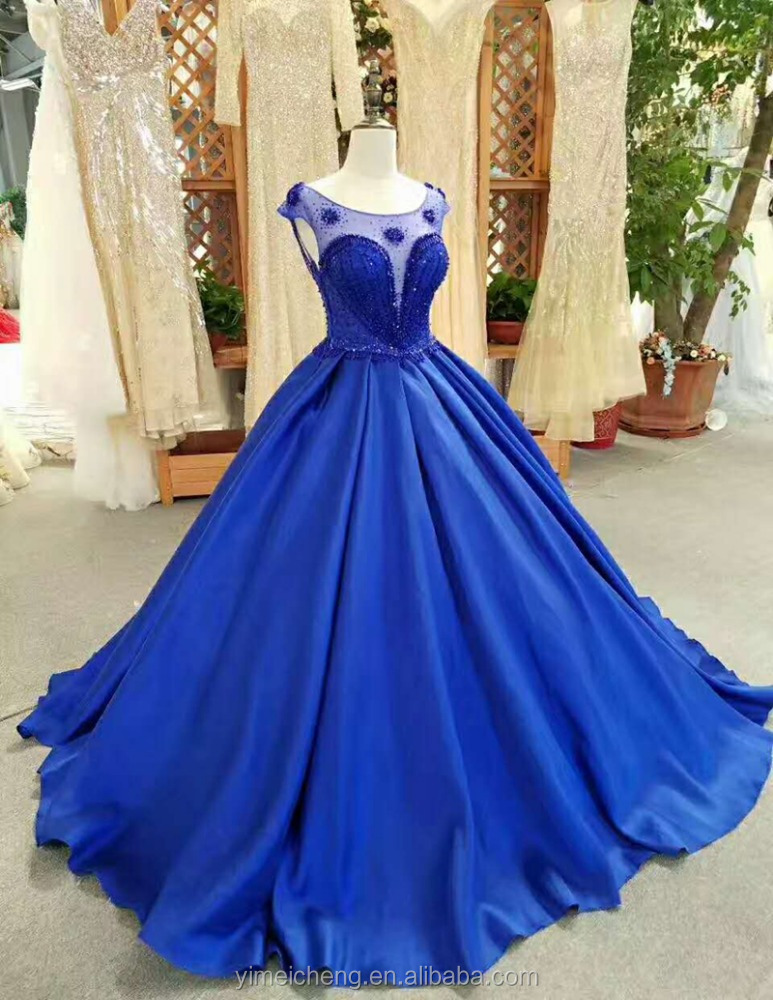 Navy blue heavy beaded sleeveless ball gown wholesale new design guangzhou wedding dress