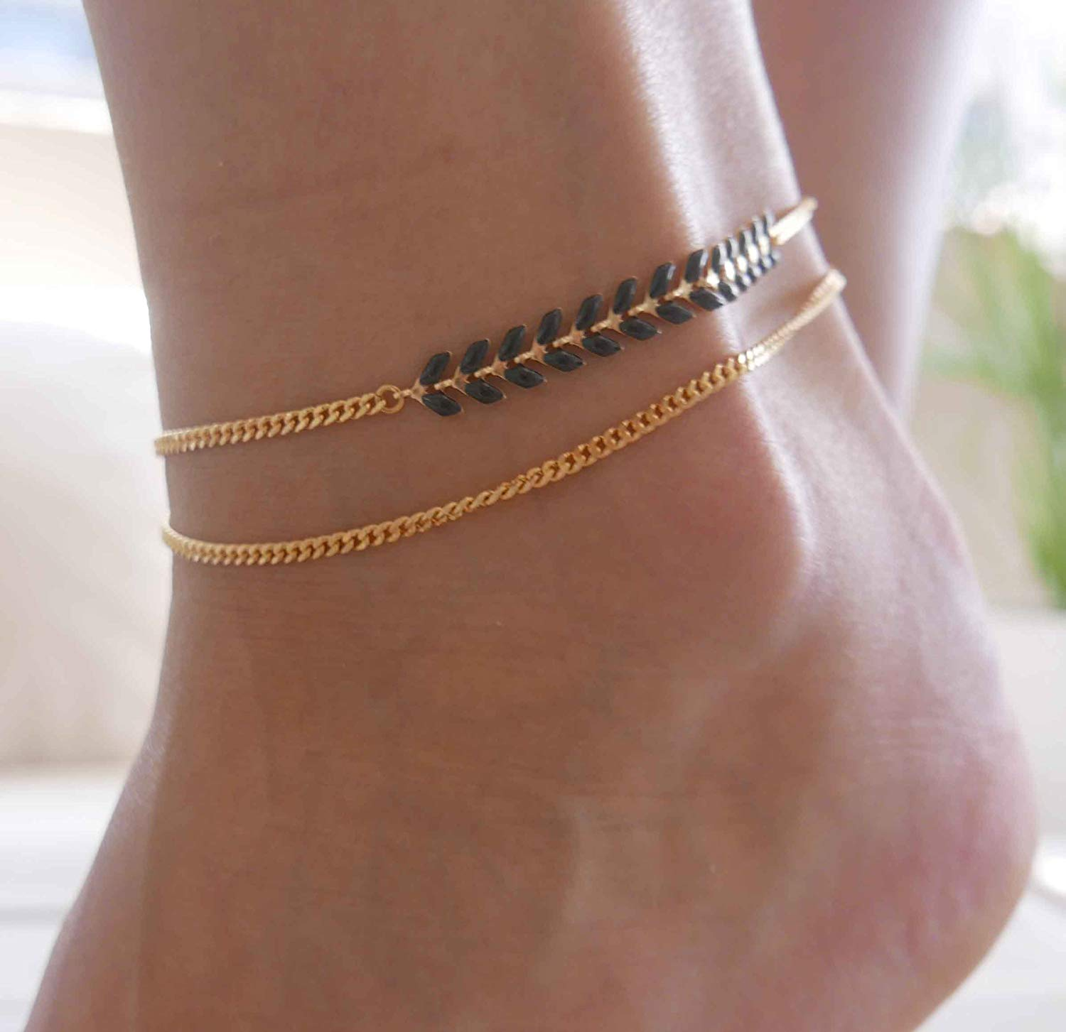 Handmade Gold Anklet For Women Set With Black Arrow Chain By Galis Jewelry - Gold Ankle Bracelet For Women - Arrow Anklet - Arrow Ankle Bracelet