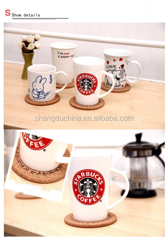 barato Porta copos de madeira colorida quadrada dos utensílios de mesa da cortiça da bolacha do copo de chá por atacado