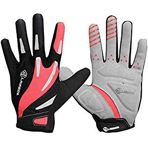 Lameda Cycling Gel Padded Full Finger Breathable Bike Gloves For Biking Bicycle Red L