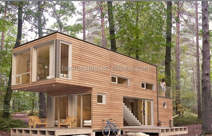 Duplex design light steel structure building container shipping house