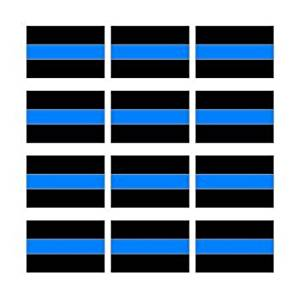 """StickerDad® (12 PACK) Thin Blue Line Decal Full Color Printed Sticker - Police - size: 2"""" x 1.5"""" - Hard Hat, Helmet, Windows, Walls, Bumpers, Laptop, Lockers, etc."""
